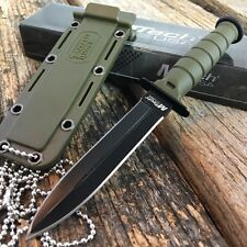 """6"""" M-TECH TACTICAL GREEN Survival Army FIXED BLADE Mini Neck KNIFE w/SHEATH -TH"""