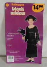 Girls Black Widow Mourning Gothic Costume Size 5-7 Dress Headpiece Halloween