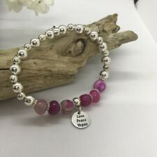 Bracelet - Love Peace Vegan - Agate Stones & Silver Plate Beads - 18cm