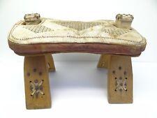 Vintage Used Wood Leather Footstool Ottoman Decorative Western Stool