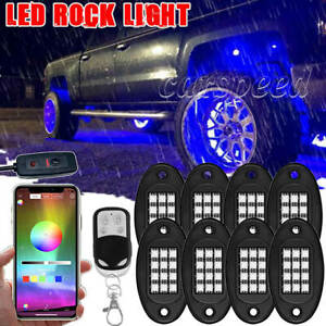 8 Pod RGB LED Rock Light bluetooth Offroad Truck for Ford F-150 F-250 Super Duty