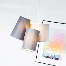 Moderne Pendellampe Hängelampe mit Textilschirm Stoffschirm, grau, Ø 40cm