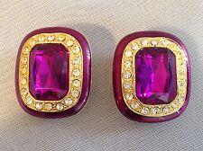 Vintage Shining Ruby Red Rhinestone Clip On Earrings