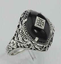 Art Deco Style Black Oynx Ring with Diamond Center - Sterling Silver Size 7