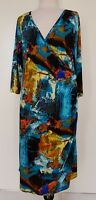 WORSHIP Bright Multicoloured Stretch Knit Dress Size 16