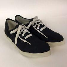 Vintage 1970s Black Cotton Lace Up Canvas Casual Shoes Flats Women's 5