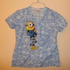 Despicable Me Minion Made Womens Medical Scrub Uniform Top Blue Small