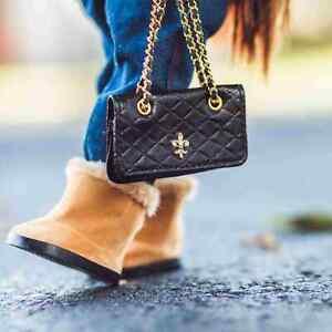 18 In Doll BLACK DESIGNER HANDBAG PURSE Fits American Girl Clothes & Accessories