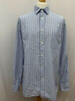 Mens | Jaeger Striped Long Sleeve Shirt | Blue & White | Size XL