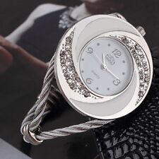 Women Steel Bangle Wrist Crystal Round Dial Analog Digital Bracelet Watch YS