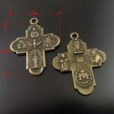 36404 Antique Bronze Alloy Cross Shaped Jewelry Charms Pendant Crafts 40pcs