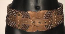 Belgo Lux Medium Wide Dark Brown 2 Tone Leather Weave Fashion Cinch Belt