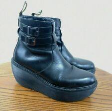 DR MARTENS Caitlin Black Leather Boots. UK 5. Platform. Wedge. Grunge.
