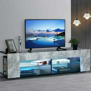 Modern RGB LED TV Stand Unit Console with Side Cabinet Storage & Open Shelves