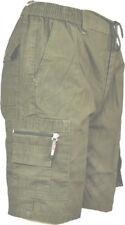 Mens Plain Summer Elasticated Shorts Cargo Cotton Rich Combat 30-40