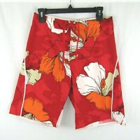 Quiksilver Boys Red Hibiscus Flower Board Shorts Swim Trunks Size 28 16 Aloha