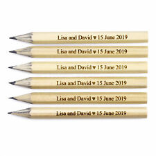 12 Engraved Mini Pencils Personalised - Wedding Bride Save The Date Hen Baby
