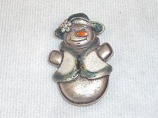 Vintage Snowlady Silver-Tone Brooch/Hat Pin/Scarf Clip ~ w/Glitter & Rhinestone