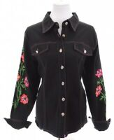 Bob Mackie Wearable Art Womens Embroidered Black Denim Jacket Top Roses Sz Large
