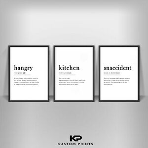 Kitchen Definition Hangry Noun Print Typography Snaccident Poster Art Picture