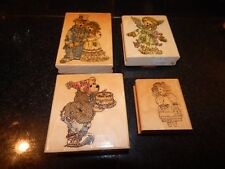 Lot of 4 Wooden Ink Stamps for scrapbooking cardmaking   BEARS BIRTHDAY
