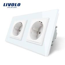 Livolo Glas 2 fach Steckdose Touchscreen Lichtschalter Wandsteckdosen in Weiss