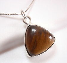 Tiger Eye Triangle 925 Sterling Silver Necklace Pyramid New