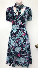 LEONA EDMISTON *Leona* Stunning Tie Neck A-Line Blue & Teal Dress sz 16 NWT