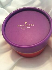 Kate Spade New York Cardboard Jewelry Container Box Purple Red Gold Cylinder