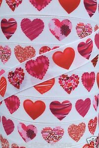"5 yards 7/8"" VALENTINE SCRIBBLE SCROLL LOVE HEART HEARTS GROSGRAIN RIBBON"
