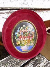 Ancienne peinture ovale BEAU bouquet de fleurs miniature N.TESSUTO