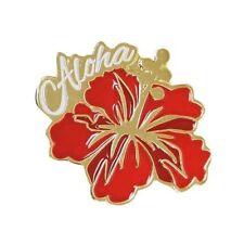 Pin Aloha Hibiscus Red, Gold Islander Hawaiian Lapel or Hat