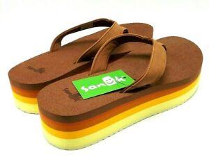 Sanuk Women Yoga Stacker Flatform Sandals Gold Rainbow US 9
