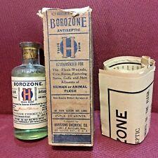 Antique Medicine Bottle Quack: For Man Or Beast, Borozone, Contents, Embossed.