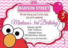 Elmo, Pink, Girl, Sesame Street, Elmo Invitation, Birthday Party Invitation
