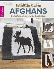 Crochet Pattern Book WILDLIFE CABLE AFGHANS ~ Moose, Bear, Wolf & Deer