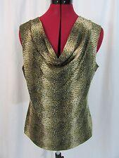 Jones New York Collection Tan Multi Sleeveless Animal Print Top Size L