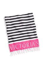 Victoria's Secret Pink & Black Stripes Beach Blanket Throw 60X50 New Fringe