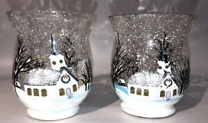 Yankee Candle CRACKLED GLASS Candle Holder Christmas EUC Church Snow x2