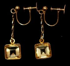 9 ct gold square citrine dangle drop screw back vintage earrings 1940s