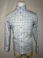 Cabelas Large L Blue White Check Plaid Men's Long-Sleeve Button-Down Shirt