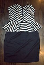 Black tan Strapless fitted Peplum striped Wiggle dress BOMBSHELL Pin up Medium M