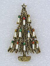 "Vintage Signed ART Christmas Tree Pin Brooch Enamel & Rhinestones Candles 2.25"""