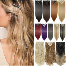 US 8 Pieces Clip In Hair Extensions Full Head Natural As Human Thick Wavy Blonde