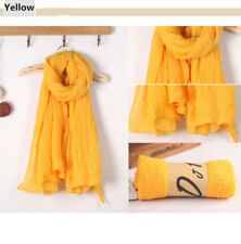 Yellow Lady women long soft cotton Scarf Wrap Shawl scarves stole thicken
