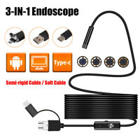 3 in 1 HD 1200P Borescope IP68 Waterproof USB Endoscope Inspection Camera 8 LED