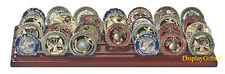 Challenge Coin Display Stand Holder Rack, Solid Wood, Walnut Finish CN-7
