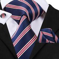 USA Blue Red Striped Classic Mens Tie Necktie Silk Woven Set Wedding Causal