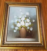 """Robert Cox Signed Oil On Canvas Floral Painting In Vintage Frame, 32"""" x 28"""""""