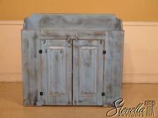 44382EC: Blue Paint Decorated Primitive Style 2 Door Dry Sink Cupboard
